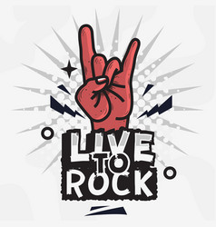 Rock star live to design with devil vector