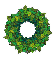 round wreath of green leaves vector image