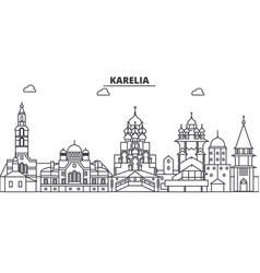 Russia karelia architecture line skyline vector
