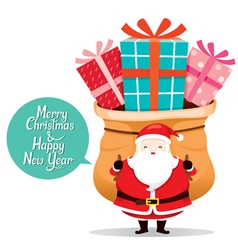 Santa Claus Carrying Big Sack With Gift Box vector image