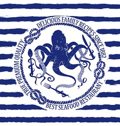Seafood restaurant emblem with octopus vector
