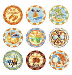 set - cute bright summer badges with slogan vector image