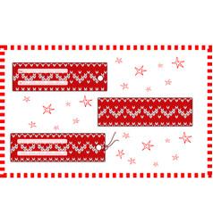 set of rectangular horizontal christmas knitted vector image