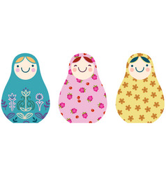 set of russian nesting dolls in a simplified vector image