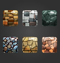 Set of shiny stone square button vector image
