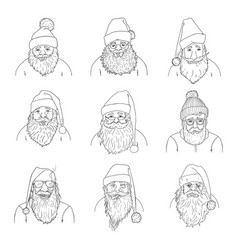 Set outline santa claus characters vector