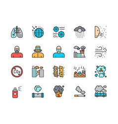 set pollution flat color line icons air dust vector image