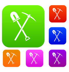 Shovel and pickaxe set collection vector