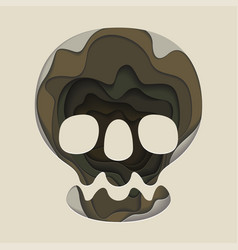 Skull is an origami design print for halloween vector