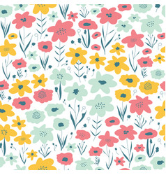 spring flower meadow seamless pattern blue vector image