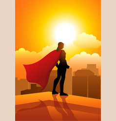 Superhero standing on the edge of a building vector