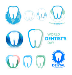 Tartar tooth inflammation gums logos vector
