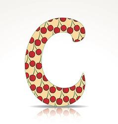 The letter c alphabet made cherry vector