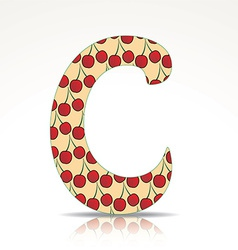 The letter C of the alphabet made of cherry vector