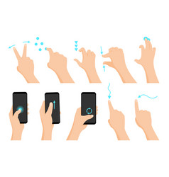 touch screen hand gestures flat colored icon vector image