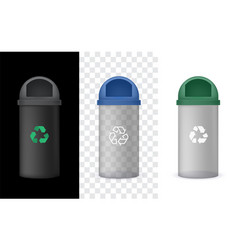 Transparency garbage bin with green cap vector