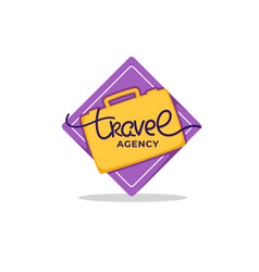 travel agency lettering logo with yellow suitcase vector image