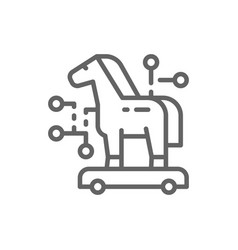 Trojan horse cyber crime virus line icon vector