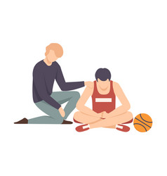 Two men sitting on floor and one supporting vector