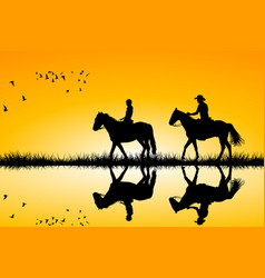 Two riders on horses standing together on sunset vector