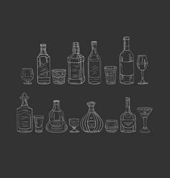 vintage alcohol bottles and glasses on black vector image