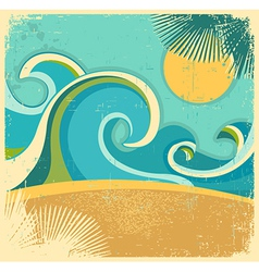 Vintage nature sea vector image