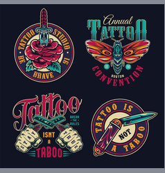 vintage tattoo studio colorful badges vector image