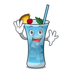 waving blue hawaii character cartoon vector image