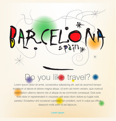 Welcome to spain barcelona travel design vector