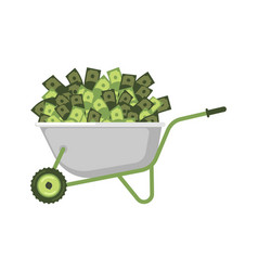 Wheelbarrow and money cash in garden trolley vector