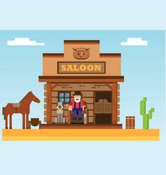 Wild west saloon old man sitting in porch dog vector