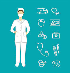 Woman doctor with medical and health icons vector