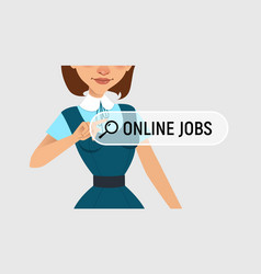 woman is writing online job on virtual screen vector image