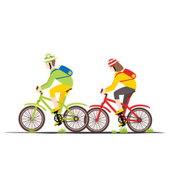 bicycle rider couple in flat style vector image vector image