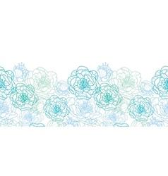 Blue line art flowers horizontal seamless pattern vector image vector image