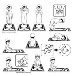 Complete Set of Muslim Prayer Guide Outline vector image