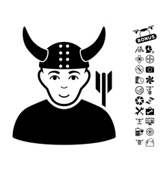 Horned Warrior Icon With Air Drone Tools Bonus vector image