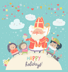 saint nicholas with piet and happy kids vector image vector image