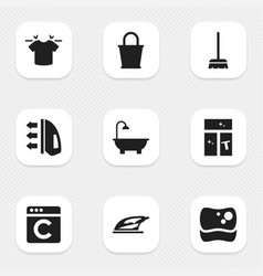 set of 9 editable cleaning icons includes symbols vector image vector image