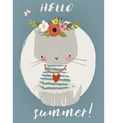 summer cute kitten vector image vector image