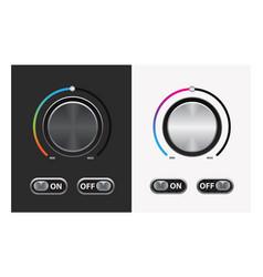 switch round knob button on dark and white vector image