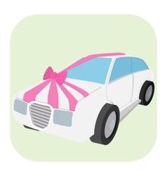 Wedding car cartoon icon vector image