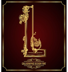 Calligraphic font Letter L vector image vector image