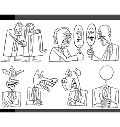cartoon politics concepts set vector image vector image