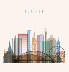 glasgow skyline detailed silhouette vector image vector image