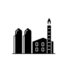 natural gas plant silhouette icon in flat style vector image vector image
