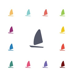 sail boat flat icons set vector image