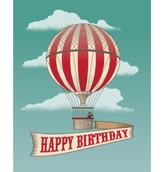 Birthday greeting card - Air balloon vector image vector image