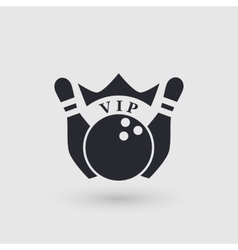 Icon bowling with crown Inscription VIP vector image