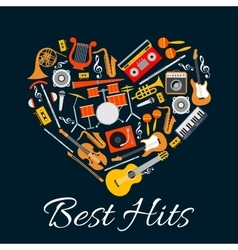 Music emblem Musical instruments in heart shape vector image vector image